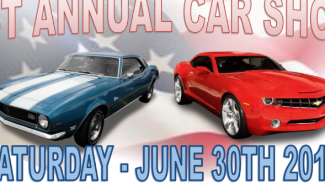 1st Annual Car/Truck/Bike Show Registration from 9am- noon Awards at 2:30pm Dash plaques to first 50 registered 50/50, DJ, Concessions with BBQ, Lots of Vendors, Trophies Free to Spectators $10 pre-registered $15 day of show Pre-registration and payment m
